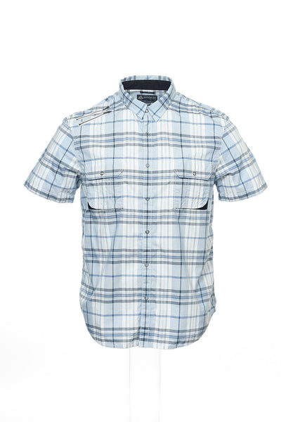 American Rag Mens Blue Plaid Western Shirt