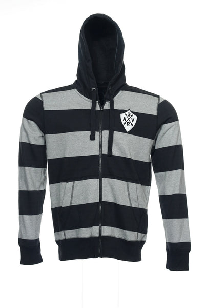 American Rag Mens Black Wide Striped Full Zip Hoodie