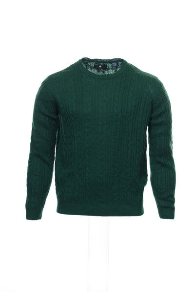Argyleculture by Russell Simmons Mens Green Cable Knit Crew Neck Sweater