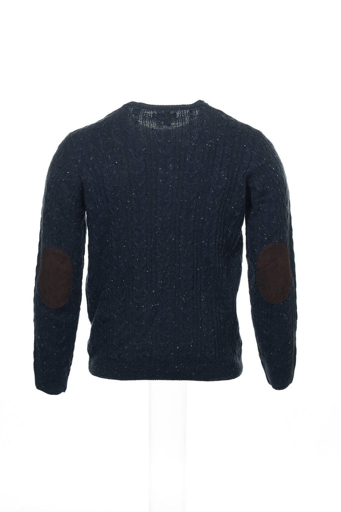 Argyleculture by Russell Simmons Mens Blue Cable Knit Crew Neck Sweater