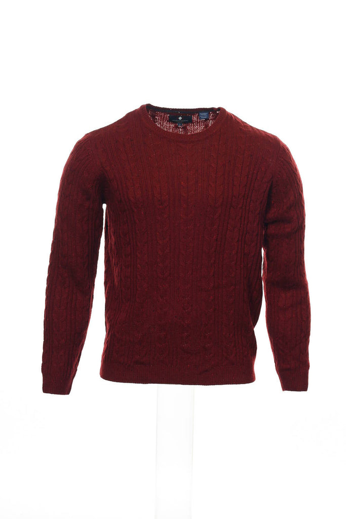 Argyleculture by Russell Simmons Mens Red Cable Knit Crew Neck Sweater