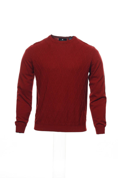 Argyleculture by Russell Simmons Mens Red Checked Crew Neck Sweater
