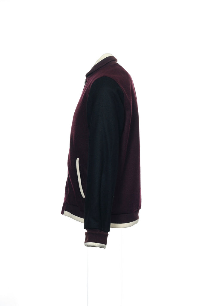 Argyleculture by Russell Simmons Mens Burgundy Color Block Letterman Jacket