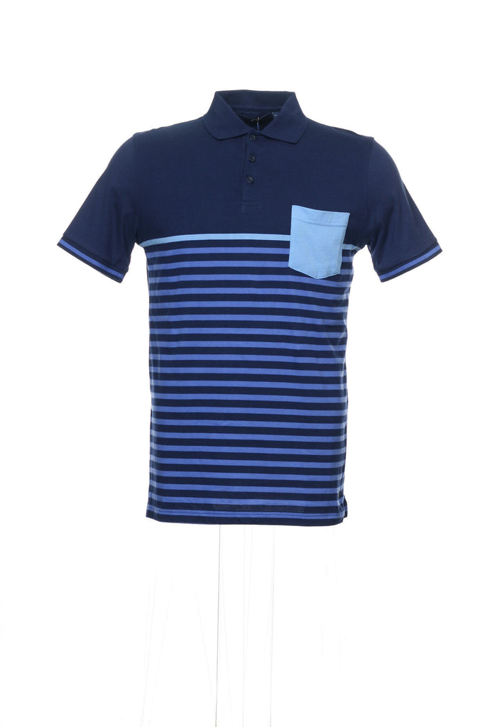 Argyleculture by Russell Simmons Mens Blue Striped Polo Shirt