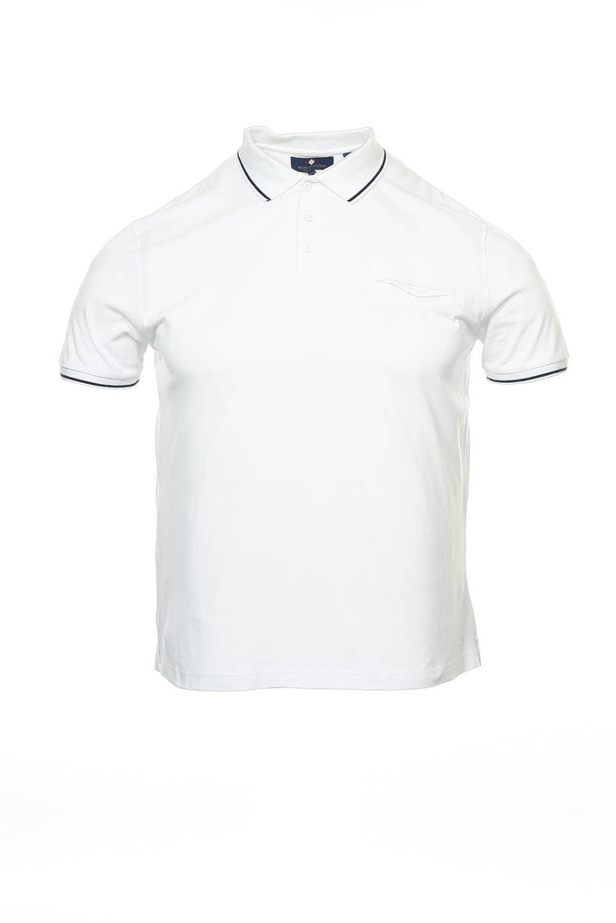 Argyleculture by Russell Simmons Mens White Herringbone Polo Shirt