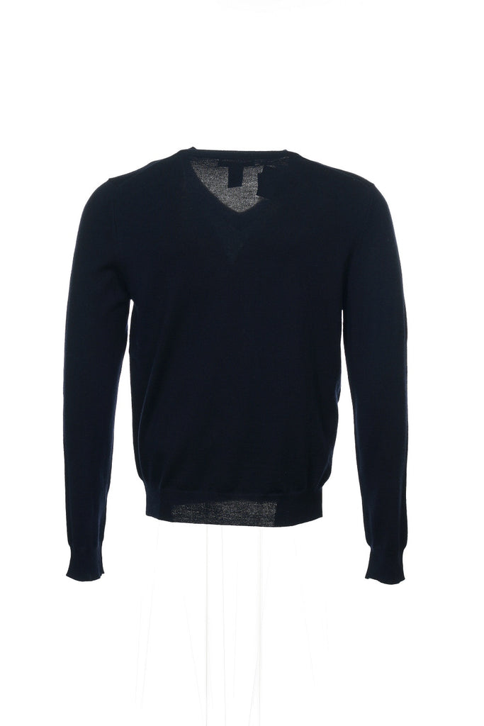 Baruffa Mens Blue Heather V-Neck Sweater