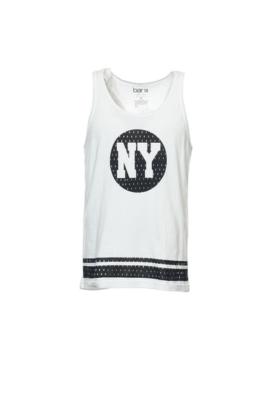Bar III Mens White Graphic Tank Top