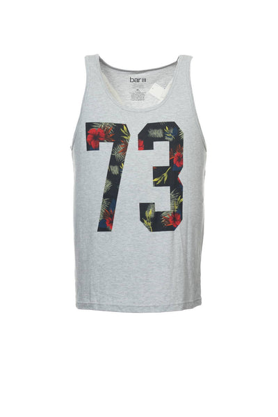 Bar III Mens Light Gray Graphic Tank Top