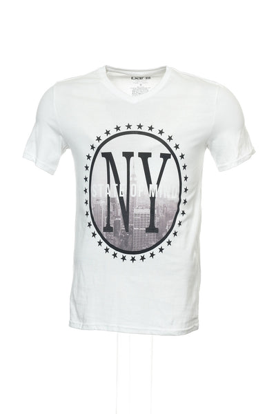 Bar III Mens White Graphic V-Neck T-Shirt