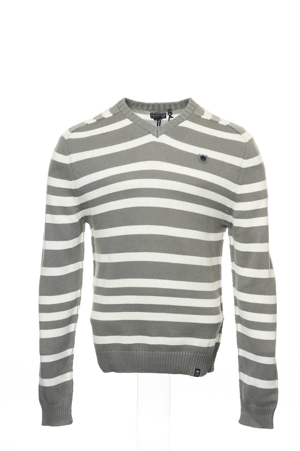 Buffalo by David Bitton (Warner) Mens Pewter Wide Striped V-Neck Sweater