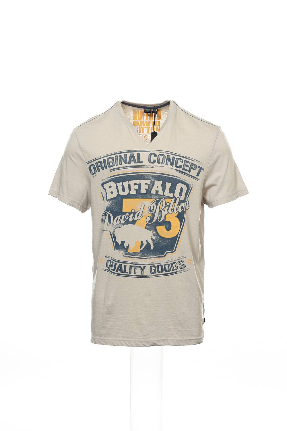 Buffalo by David Bitton Mens Light Gray Heather V-Neck T-Shirt