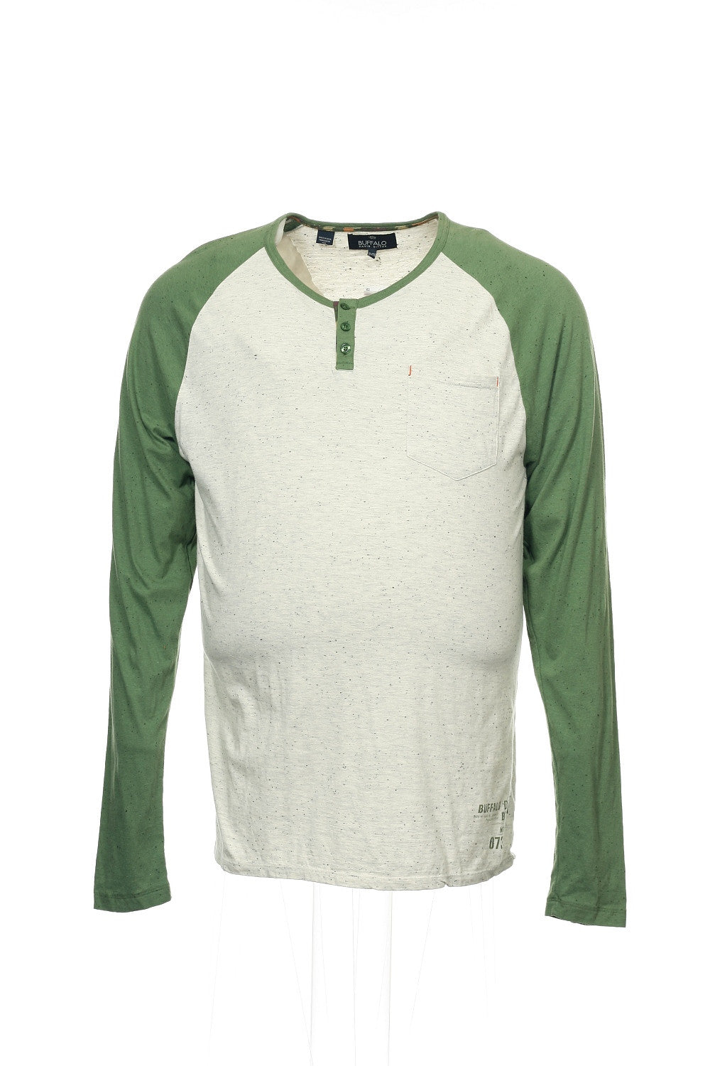 Buffalo by David Bitton Mens Olive Green Heather Pullover Shirt