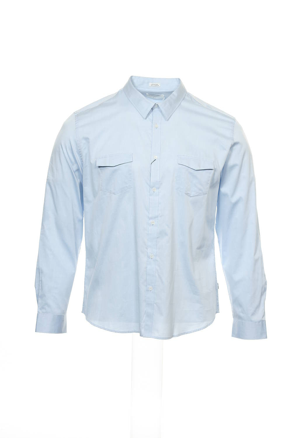 Calvin Klein Mens Light Blue Micro Striped Button Down Shirt