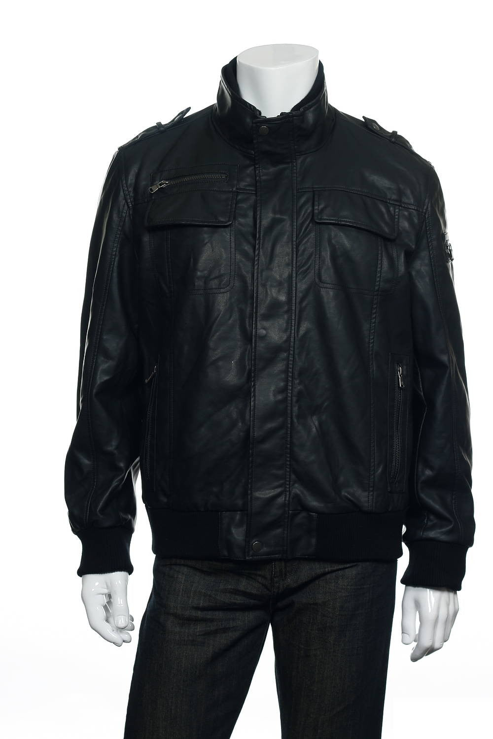 Calvin Klein Mens Black Faux Leather Jacket