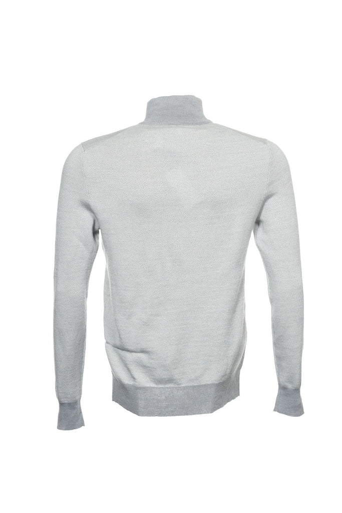 Calvin Klein Mens Light Gray Two Tone Half Zip Sweater