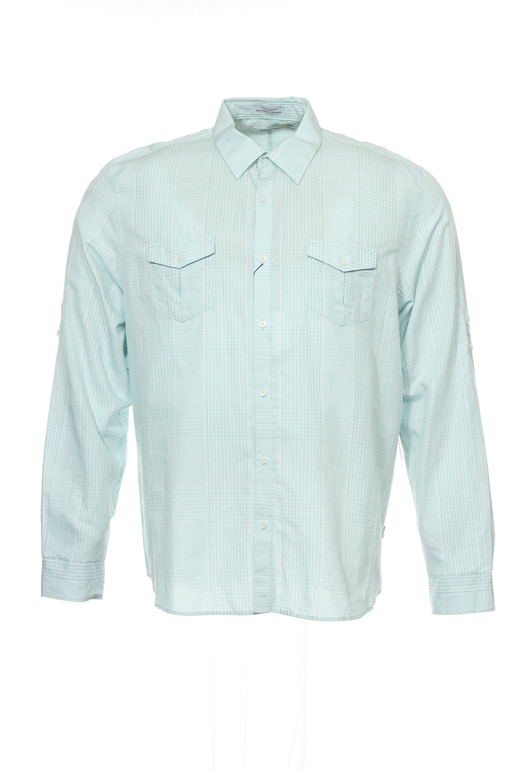 Calvin Klein Mens Light Green Plaid Button Down Shirt