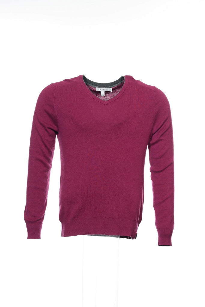 Calvin Klein Mens Purple V-Neck Sweater