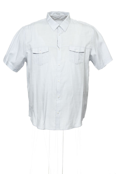 Calvin Klein Mens Light Gray Herringbone Button Down Shirt