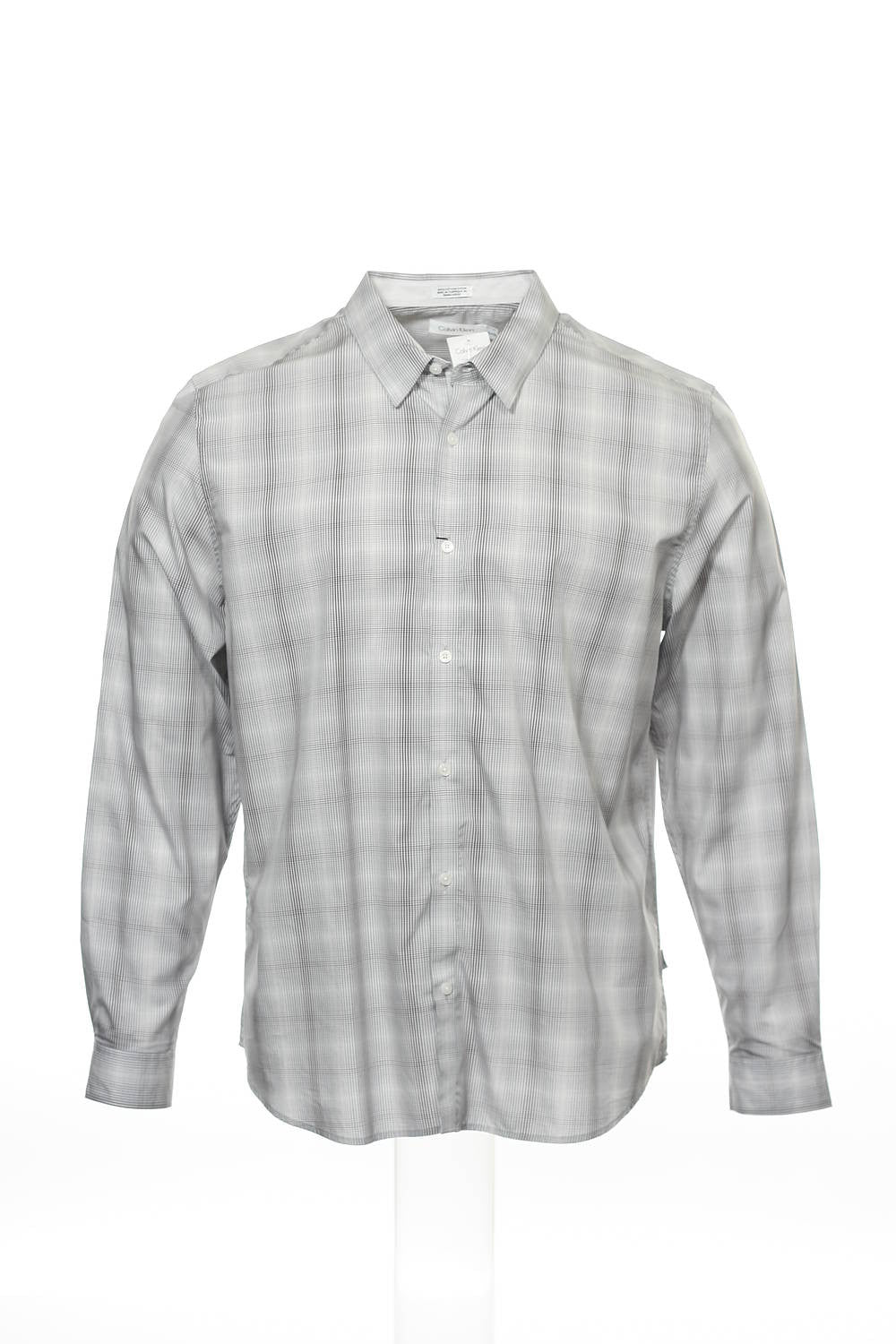 Calvin Klein Mens Light Gray Plaid Button Down Shirt