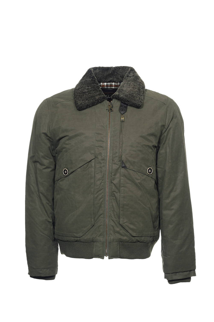 Cole Haan Mens Olive Green Bomber Jacket