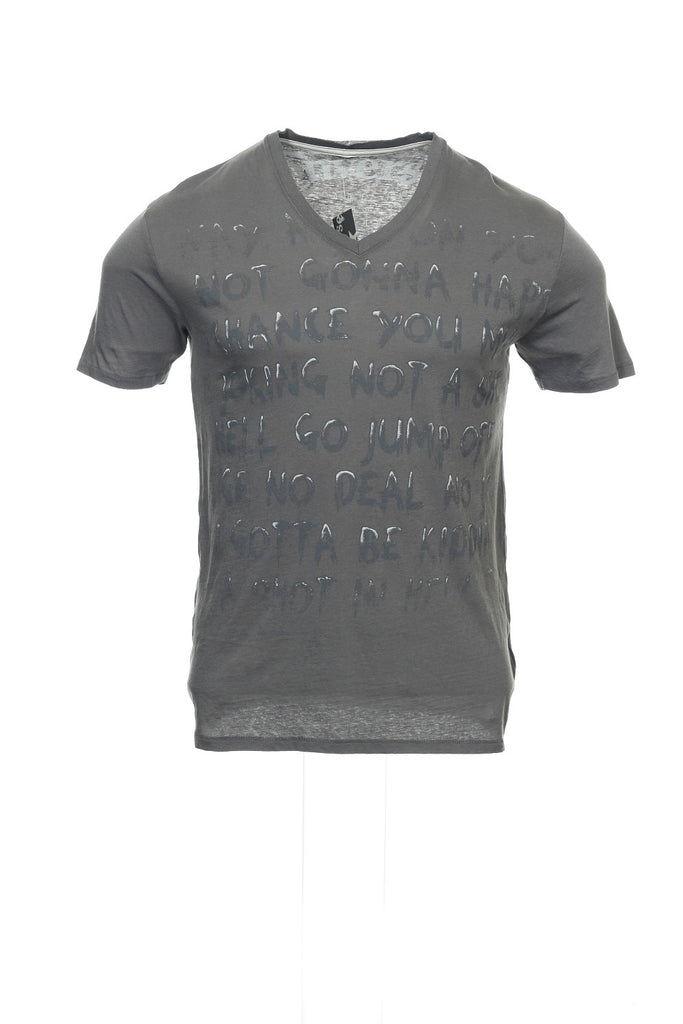 Converse Mens Gray Graphic V-Neck T-Shirt
