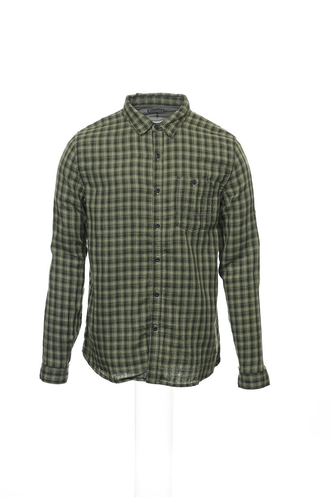 Converse 'Black Canvas' Mens Yellow Green Plaid Button Down Shirt