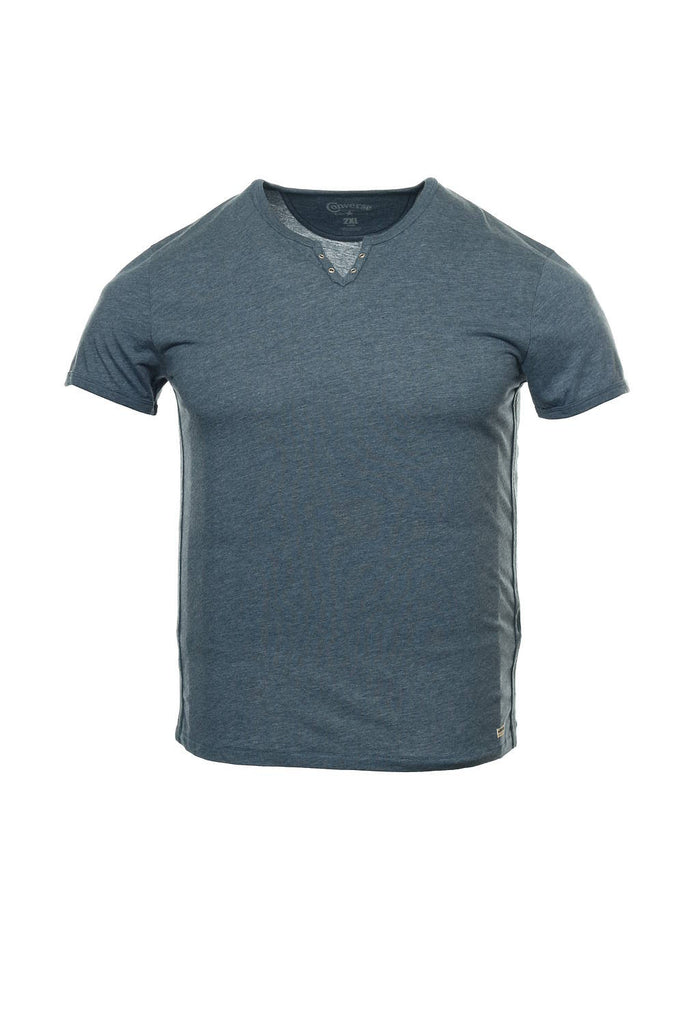 Converse 'Black Canvas' Mens Blue V-Neck T-Shirt