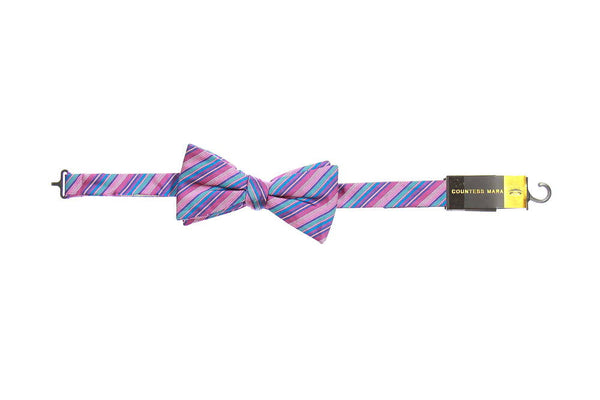 Countess Mara Mens Light Purple Striped Pre-Tied Bow Tie