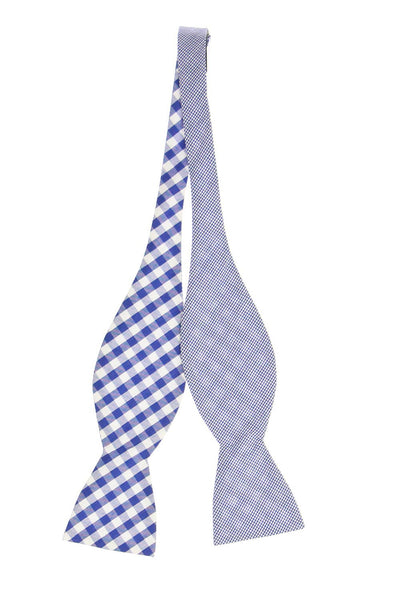 Countess Mara Mens Blue Plaid Bow Tie