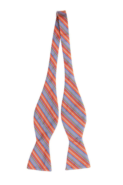 Countess Mara Mens Orange Striped Bow Tie