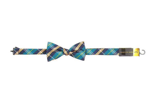 Countess Mara Mens Blue Plaid Pre-Tied Bow Tie