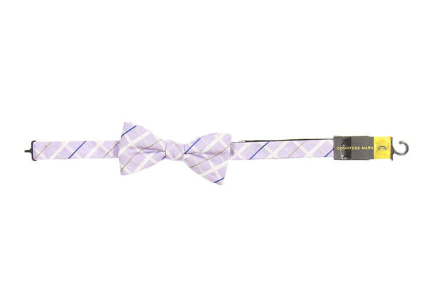 Countess Mara Mens Light Purple Plaid Pre-Tied Bow Tie