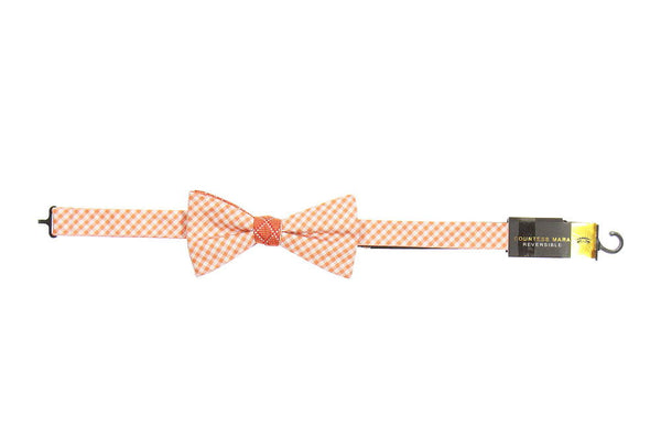 Countess Mara Mens Orange Plaid Pre-Tied Bow Tie