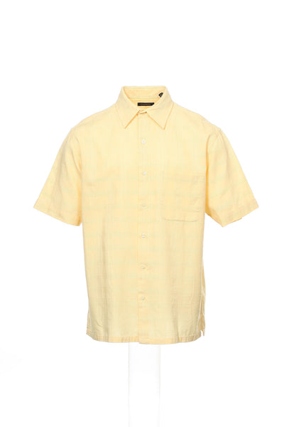 Club Room Mens Yellow Checked Camp Shirt