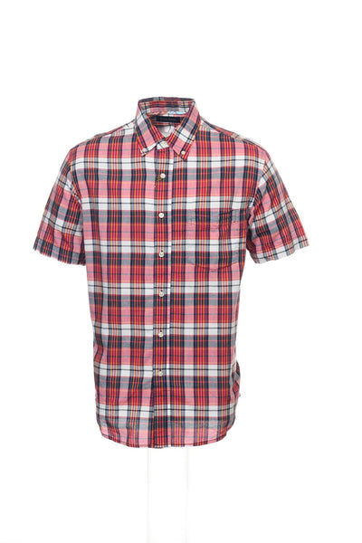 Club Room Mens Red Plaid Button Down Shirt
