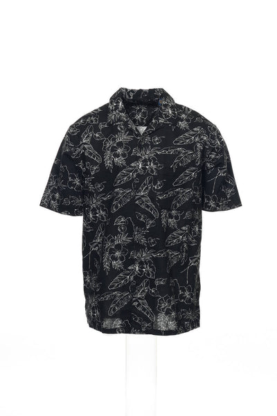Club Room Mens Black Camp Shirt