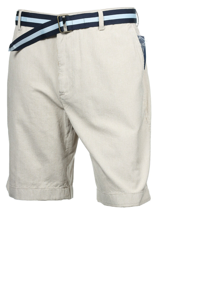 Club Room Mens Khaki Micro Striped Flat Front Walking Shorts