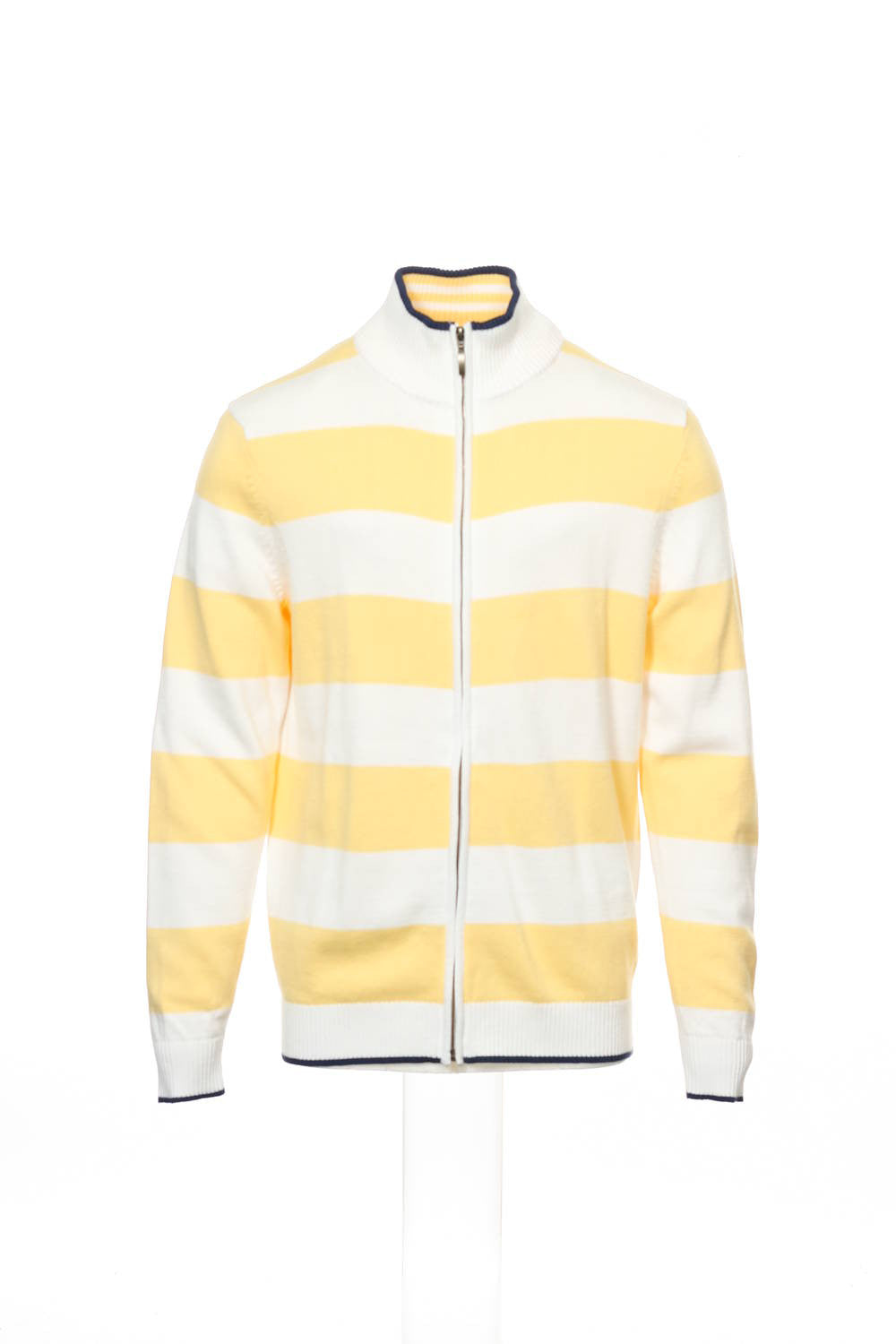 Club Room Mens Yellow Wide Striped Full Zip Sweater