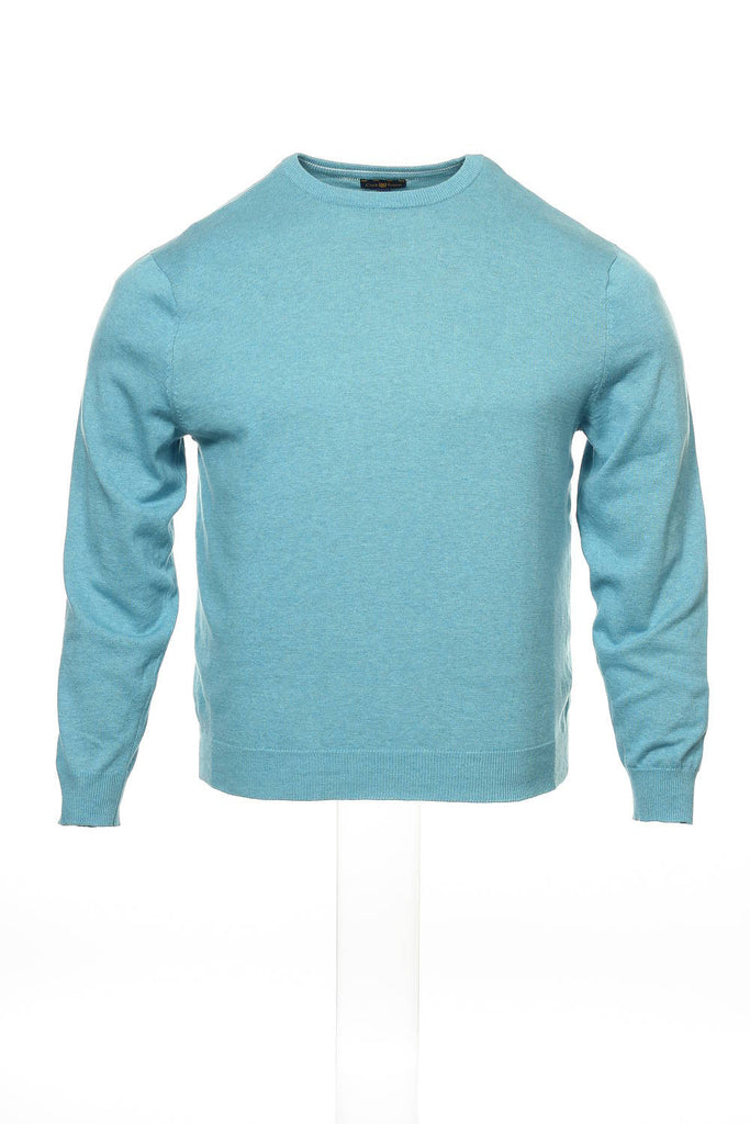 Club Room Mens Aqua Heather Crew Neck Sweater