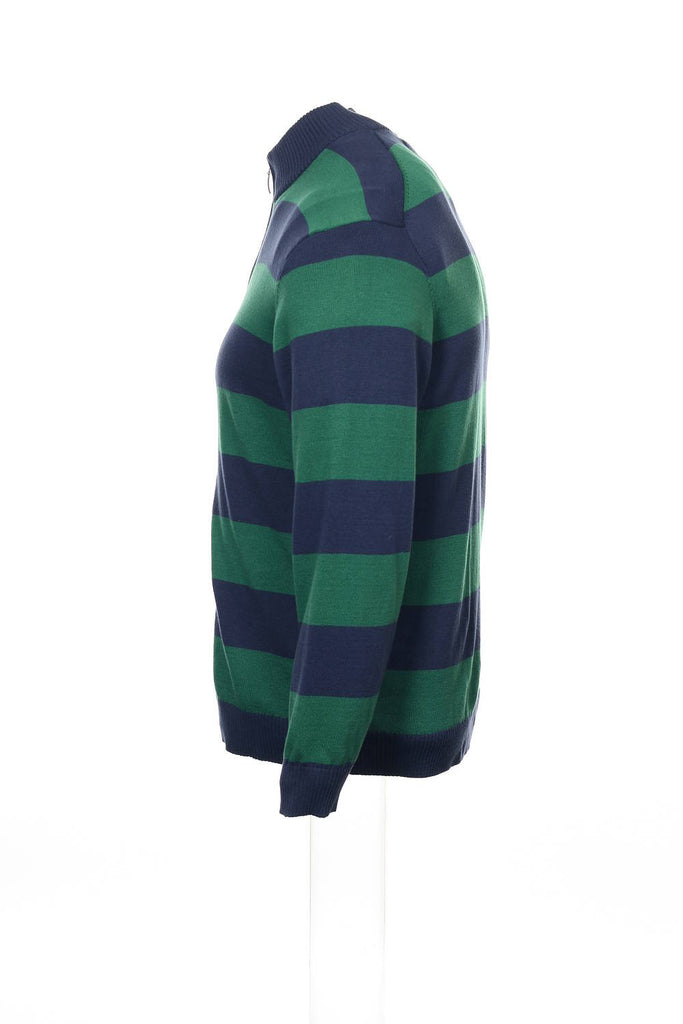 Club Room Mens Blue Wide Striped Full Zip Sweater