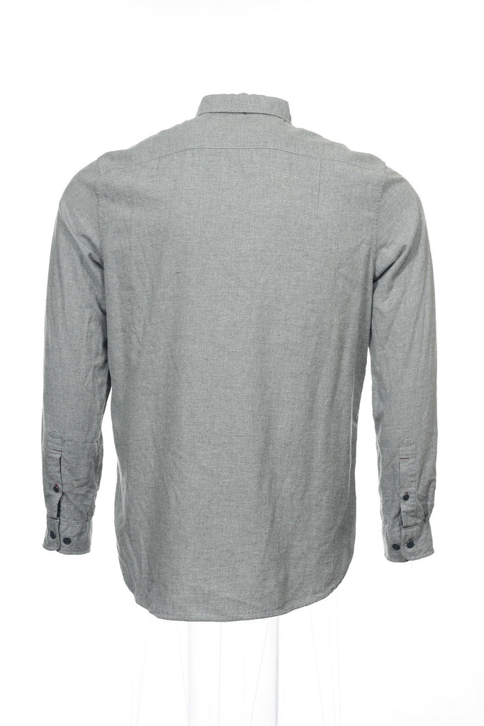 Club Room Mens Light Gray Heather Button Down Shirt
