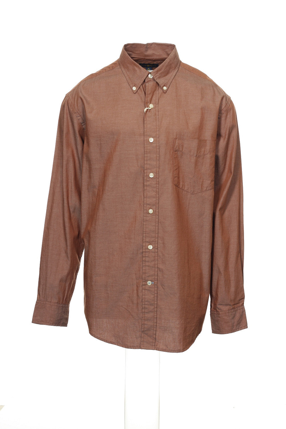 Club Room Mens Brown Heather Button Down Shirt
