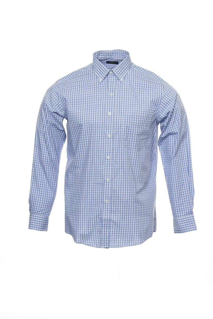 The Estate Dress Shirt by Club Room Mens Blue Checked Button Down Shirt