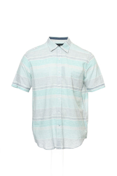 Club Room Mens Aqua Micro Striped Camp Shirt