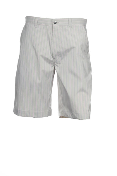 Callaway Golf Mens Light Gray Wide Striped Flat Front Walking Shorts