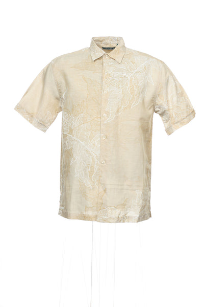 Cubavera Mens Beige Floral Camp Shirt