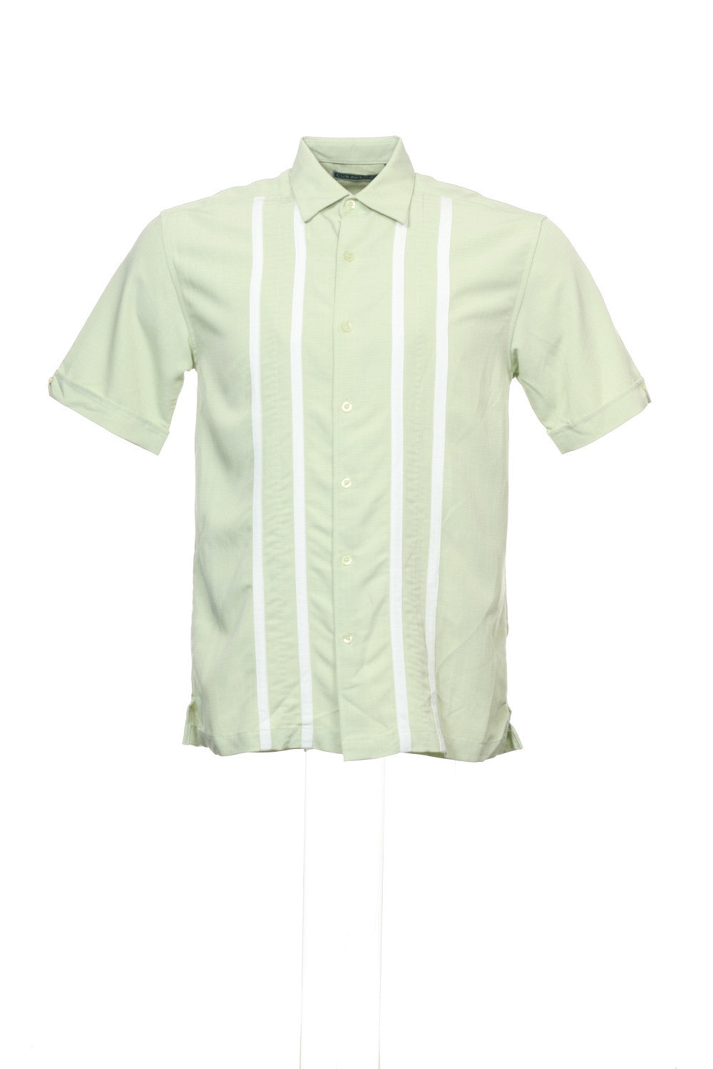 Cubavera Mens Light Green Striped Guayabera Shirt