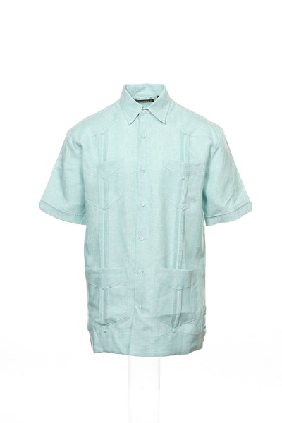 Cubavera Mens Aqua Variegated Camp Shirt