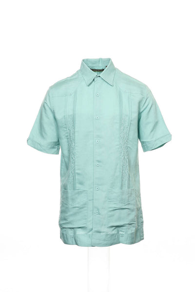 Cubavera Mens Aqua Embroidered Camp Shirt