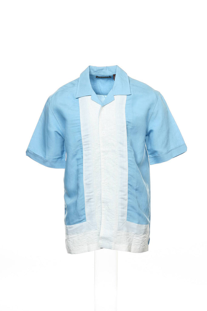 Cubavera Mens Light Blue Color Block Camp Shirt